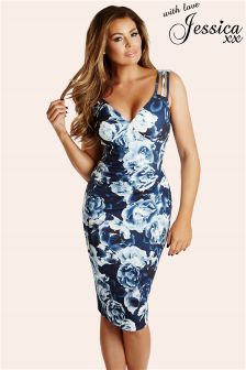 Jessica Wright Floral Print Pleated Midi Dress