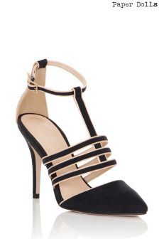 Paper Dolls Border T-bar Point Toe Low Heeled Sandals