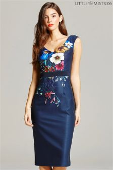 Little Mistress Floral Print V neck Bodycon