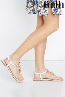 Faith Diamanté Flat Sandals