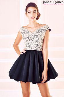 Jones + Jones Lace Bodice Bardot Prom Dress