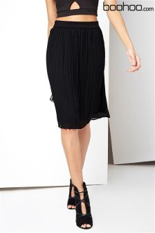 Boohoo Pleated Midi Skirt