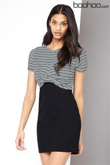 Boohoo Crop Top Stripe Layer Dress
