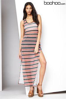 Boohoo Maxi Mesh Stripe Vest Dress