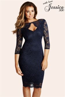 Jessica Wright Lace Keyhole Dress