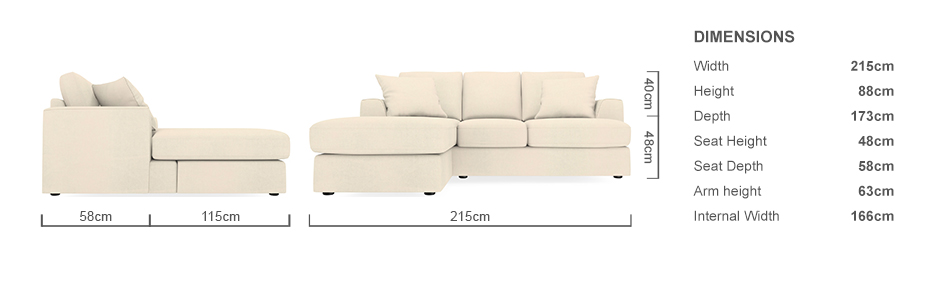 Next stratus 2 4 seater right hand chaise sofa and for Chaise watford