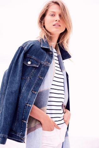 Buy Dark Blue Oversized Denim Jacket from the Next UK online shop