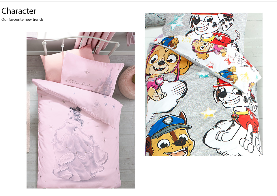 Take a look at the new collection  of children's cartoon characters inspired bedding collection.
